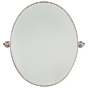 Large Oval Beveled Mirror in Traditional Style - 31.5 inches tall by 31 inches wide
