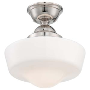 1 Light Semi-Flush Mount in Traditional Style - 14.5 inches tall by 13.75 inches wide