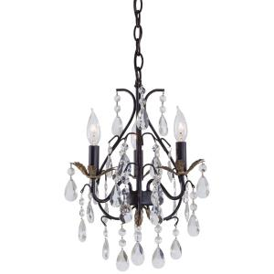 Mini Chandelier  3 Light Castlewood Walnut/Silver