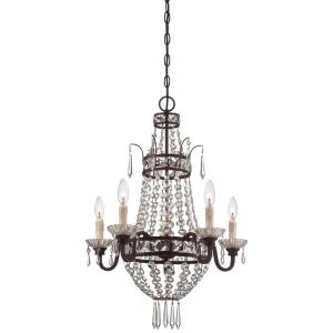 Mini Chandelier 5 Light Kinston Bronze in Traditional Style - 22.5 inches tall by 22 inches wide