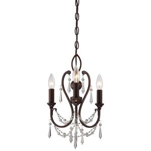 Mini Chandelier  3 Light Vintage Bronze in Traditional Style - 16.5 inches tall by 11.5 inches wide