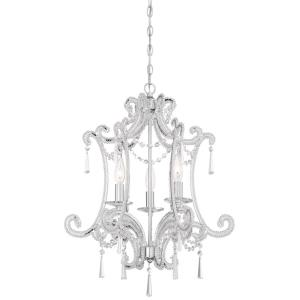 Mini Chandelier 3 Light Chrome in Traditional Style - 23 inches tall by 19 inches wide