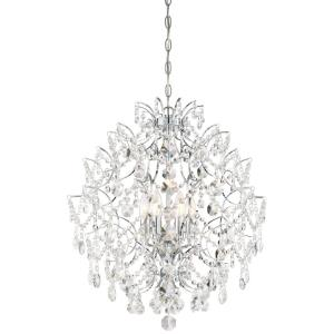 Isabella's Crown - Chandelier 6 Light Chrome Crystal in Traditional Style - 24.25 inches tall by 22 inches wide