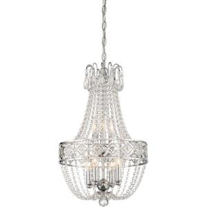 Mini Chandelier  7 Light Chrome in Traditional Style - 22 inches tall by 14 inches wide
