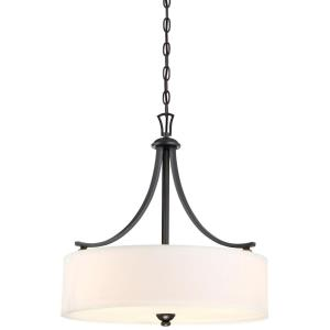 Shadowglen - Pendant 3 Light White Linen Fabric in Transitional Style - 22.75 inches tall by 21.25 inches wide