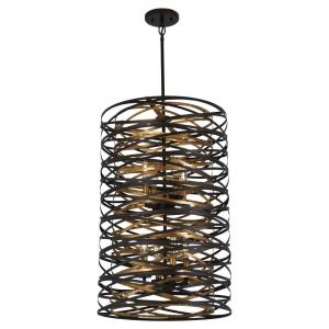 Vortic Flow - 10 Light 2-Tier Pendant in Contemporary Style - 30 inches tall by 21 inches wide