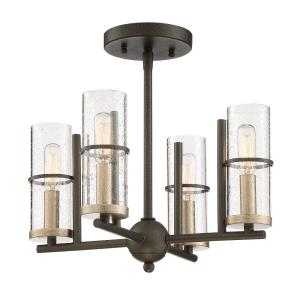 Sussex Court - 4 Light Semi-Flush Mount in Transitional Style - 13.5 inches tall by 14.5 inches wide