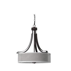 Parsons Studio - Pendant 3 Light Translucent Sliver Linen in Transitional Style - 23.5 inches tall by 20.5 inches wide