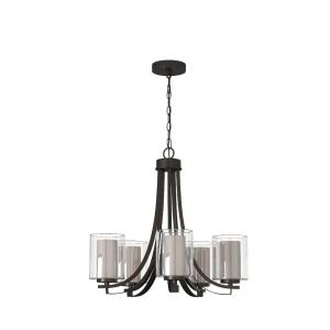 Parsons Studio - Chandelier 5 Light Sand Coal Steel/Glass in Transitional Style - 23 inches tall by 25.5 inches wide