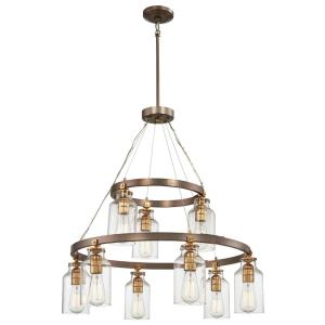 Morrow - Chandelier 9 Light Harvard Court Bronze/Gold Steel/Glass in Transitional Style - 31 inches tall by 29 inches wide