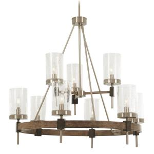 Bridlewood - 2 Tier Chandelier 9 Light St1 Grey/Brushed Nickel in Transitional Style - 30 inches tall by 32 inches wide