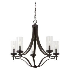 Elyton - Chandelier 5 Light Downton Bronze/Gold in Transitional Style - 25 inches tall by 26 inches wide
