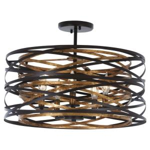 Vortic Flow - 5 Light Semi-Flush Mount in Contemporary Style - 9 inches tall by 20 inches wide