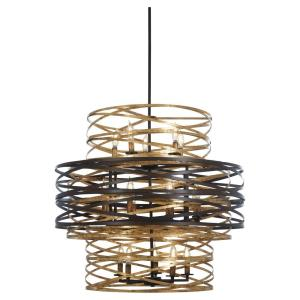 Vortic Flow - 3 Tier Chandelier 18 Light Dark Bronze/Mosaic Gold in Contemporary Style - 27 inches tall by 30 inches wide