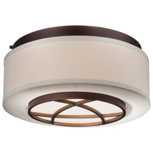 City Club - 2 Light Flush Mount in Transitional Style - 5.75 inches tall by 15 inches wide