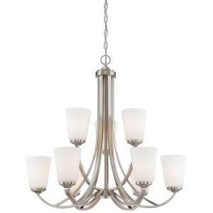 Overland Park - Chandelier 9 Light Brushed Nickel in Transitional Style - 29.25 inches tall by 30 inches wide