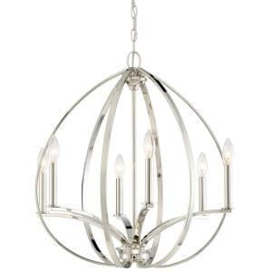 Tilbury - Chandelier 6 Light Polished Nickel in Transitional Style - 24.25 inches tall by 24 inches wide