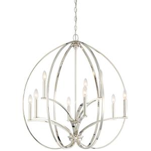 Tilbury - Chandelier 9 Light Polished Nickel in Transitional Style - 33.5 inches tall by 30.25 inches wide