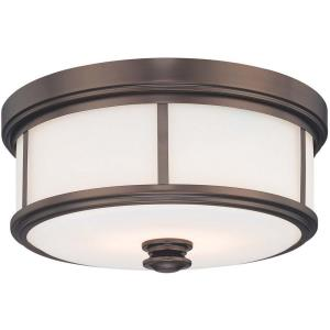 3 Light Flush Mount in Traditional Style - 7 inches tall by 16 inches wide