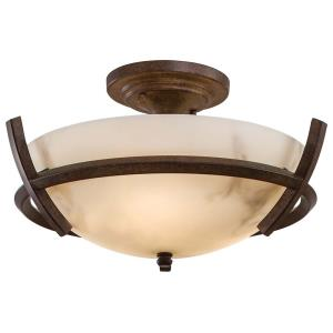 Calavera - 3 Light Semi-Flush Mount in Transitional Style - 7.75 inches tall by 14 inches wide
