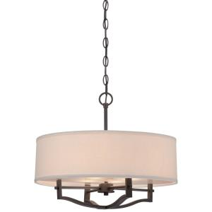 Drum Pendant 3 Light Off-White Linen in Transitional Style - 16.25 inches tall by 19 inches wide