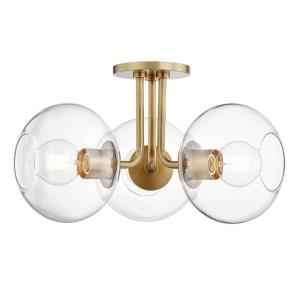 Margot-3-Light Semi Flush in  Style-20 Inches Wide by 11 Inches High