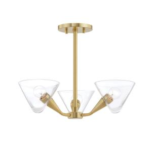 Isabella-Three Light Semi Flush in Style-20.5 Inches Wide by 12 Inches High