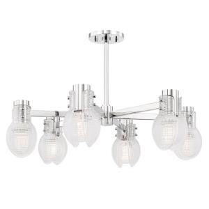Jenna-6 Light Chandelier in Modern Style-26 Inches Wide by 8.5 Inches High