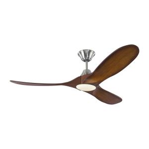 Maverick II LED - 3 Blade Ceiling Fan with Handheld Control and Includes Light Kit in Modern Style - 52 Inches Wide by 13.8 Inches High