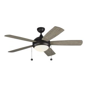 Discus Classic 5 Blade 52 Inch Ceiling Fan with Pull Chain Control and Includes Light Kit