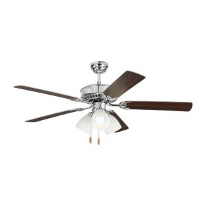 Haven - 5 Blade Ceiling Fan with Pull Chain Control and Includes Light Kit in Transitional Style - 52 Inches Wide by 19.9 Inches High