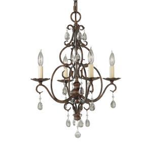 4 Lt Mini Duo Chandelier w/crystals
