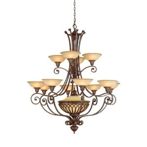 13 Light Two- tier Chandelier w/shades