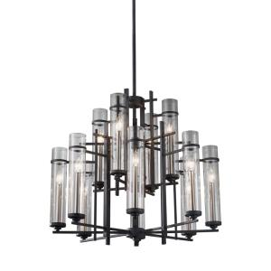 Ethan - Chandelier 12 Light Steel in Transitional Style - 30 Inches Wide by 26.63 Inches High