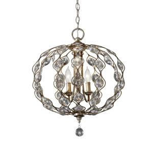 Leila Chandelier 3 Light Steel/Crystal