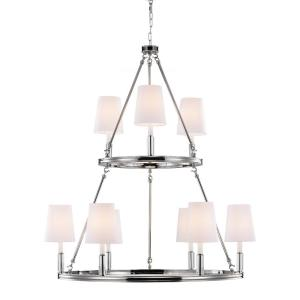 Lismore - Chandelier 9 Light WhiteFabric in Crystals Style - 37.38 Inches Wide by 42.63 Inches High