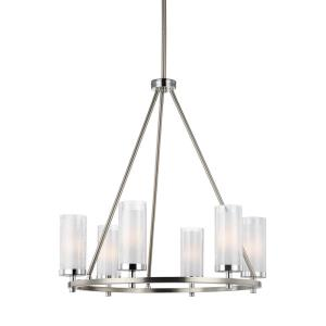 Jonah - Chandelier 6 Light Steel in Period Uptown Style - 25.38 Inches Wide by 26.38 Inches High