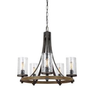 Angelo - Chandelier 5 Light Steel in Rustic Style - 24 Inches Wide by 24.5 Inches High