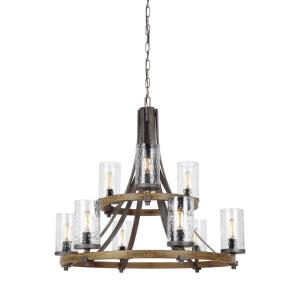 Angelo 2-Tier Chandelier 9 Light Steel