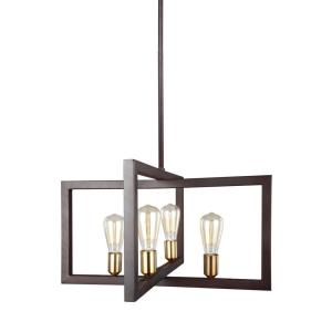 Finnegan - Chandelier 4 Light Steel in Transitional Style - 23.5 Inches Wide by 13.5 Inches High