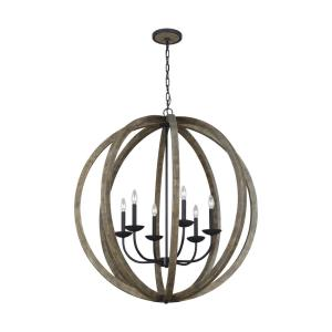 Allier - Chandelier 6 Light Steel in Transitional Style - 38 Inches Wide by 40.88 Inches High