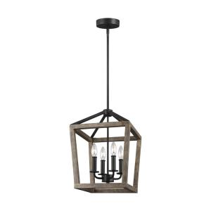 Gannet - Chandelier 4 Light Steel in Traditional Style - 12 Inches Wide by 17 Inches High