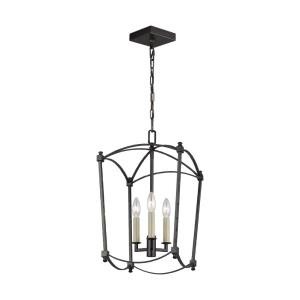 Thayer - Chandelier 3 Light Steel in Period Inspired Style - 12 Inches Wide by 20.38 Inches High