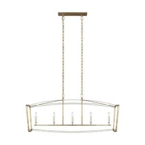Thayer - Linear Chandelier 5 Light Steel in Period Inspired Style - 14 Inches Wide by 20.25 Inches High