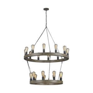 Avenir - 2-Tier Chandelier 21 Light Steel in Old World Style - 36 Inches Wide by 48 Inches High