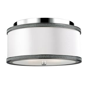 Pave' - Two Light Crystal Inlay Flush Mount