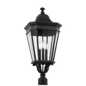 Cotswold Lane - Three Light Outdoor Post Lantern in Traditional Style - 12 Inches Wide by 27.38 Inches High