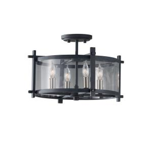 Ethan - Four Light Indoor Semi-Flush Mount in Transitional Style - 16.38 Inches Wide by 10.5 Inches High