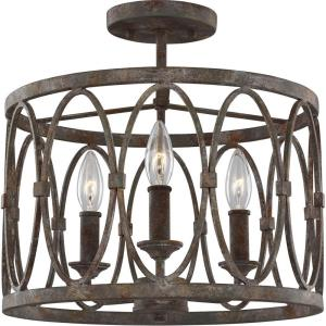 Patrice - Three Light Semi Flush Mount in Transitional Style - 14 Inches Wide by 13.63 Inches High