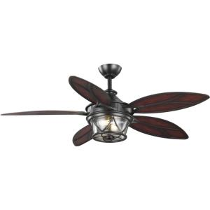 Alfresco - Wide - Ceiling Fan - 2 Light - Handheld Remote - Damp Rated in Coastal style - 54 Inches wide by 19.25 Inches high